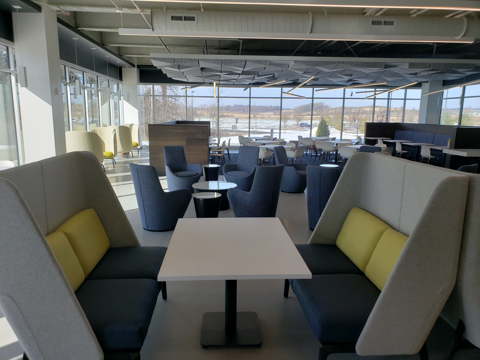 table and booths in an office