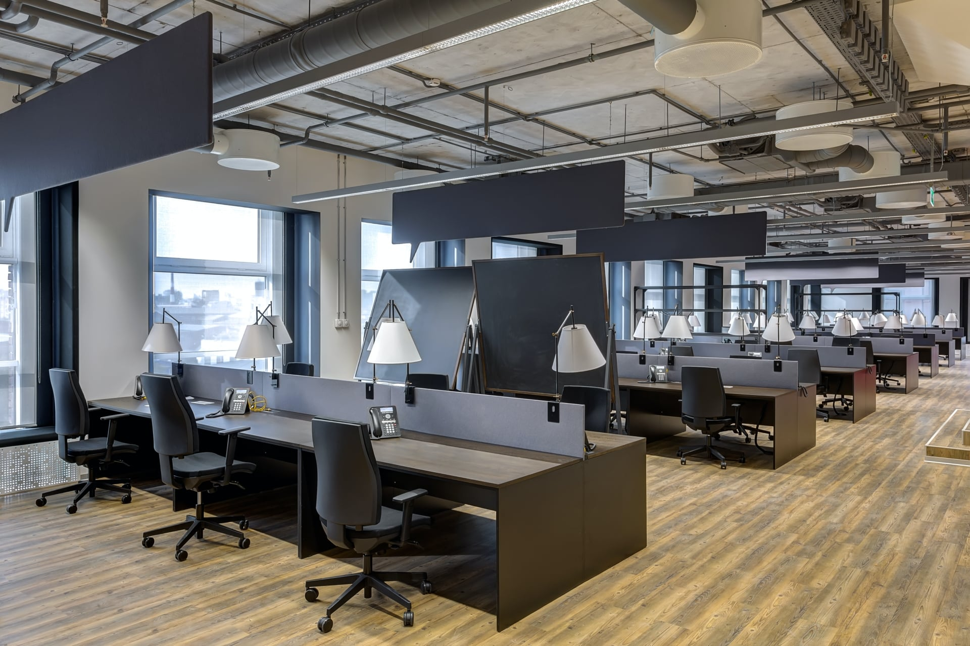 black office chairs and cubicles