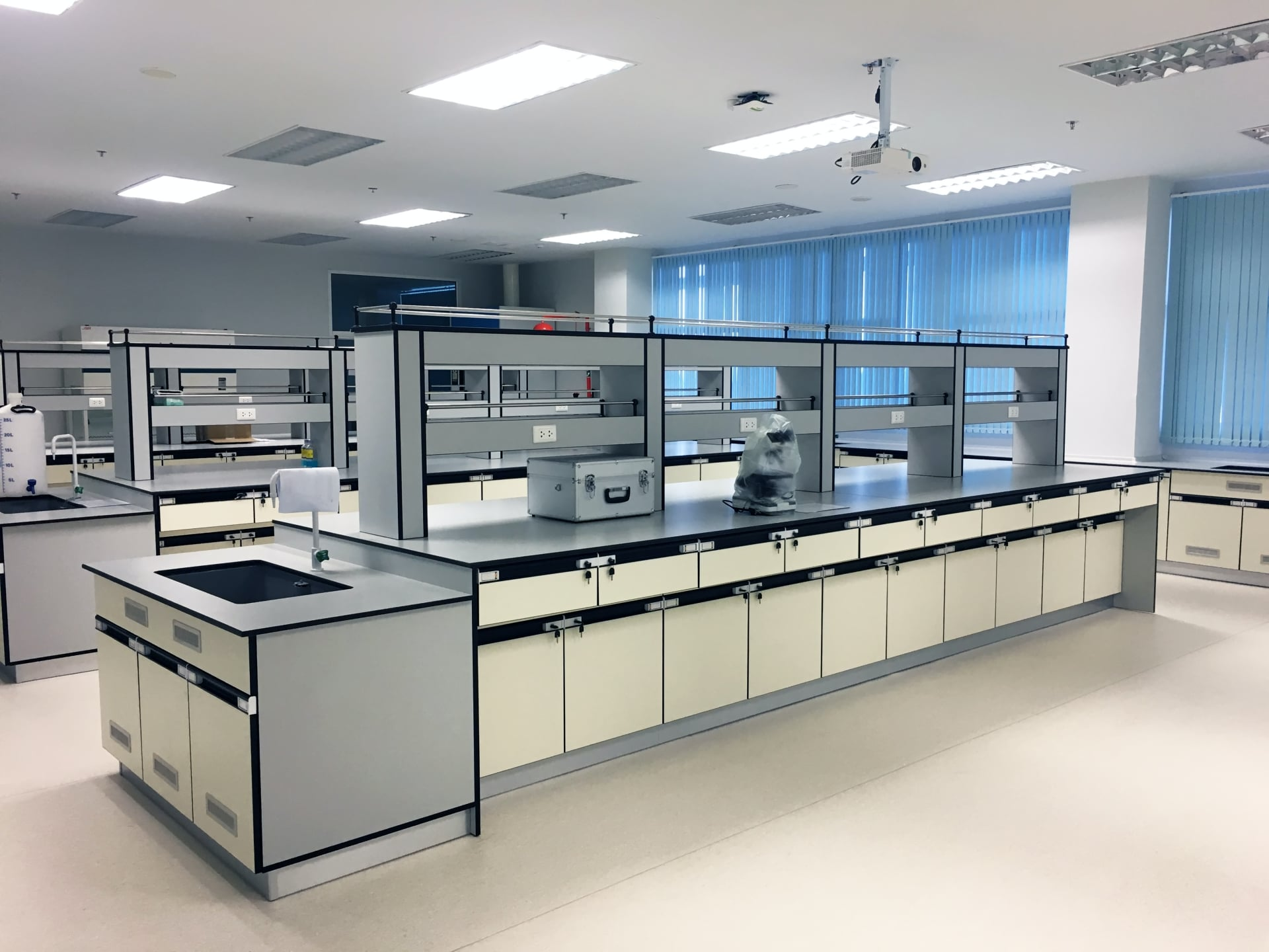 laboratory with cabinets and counters