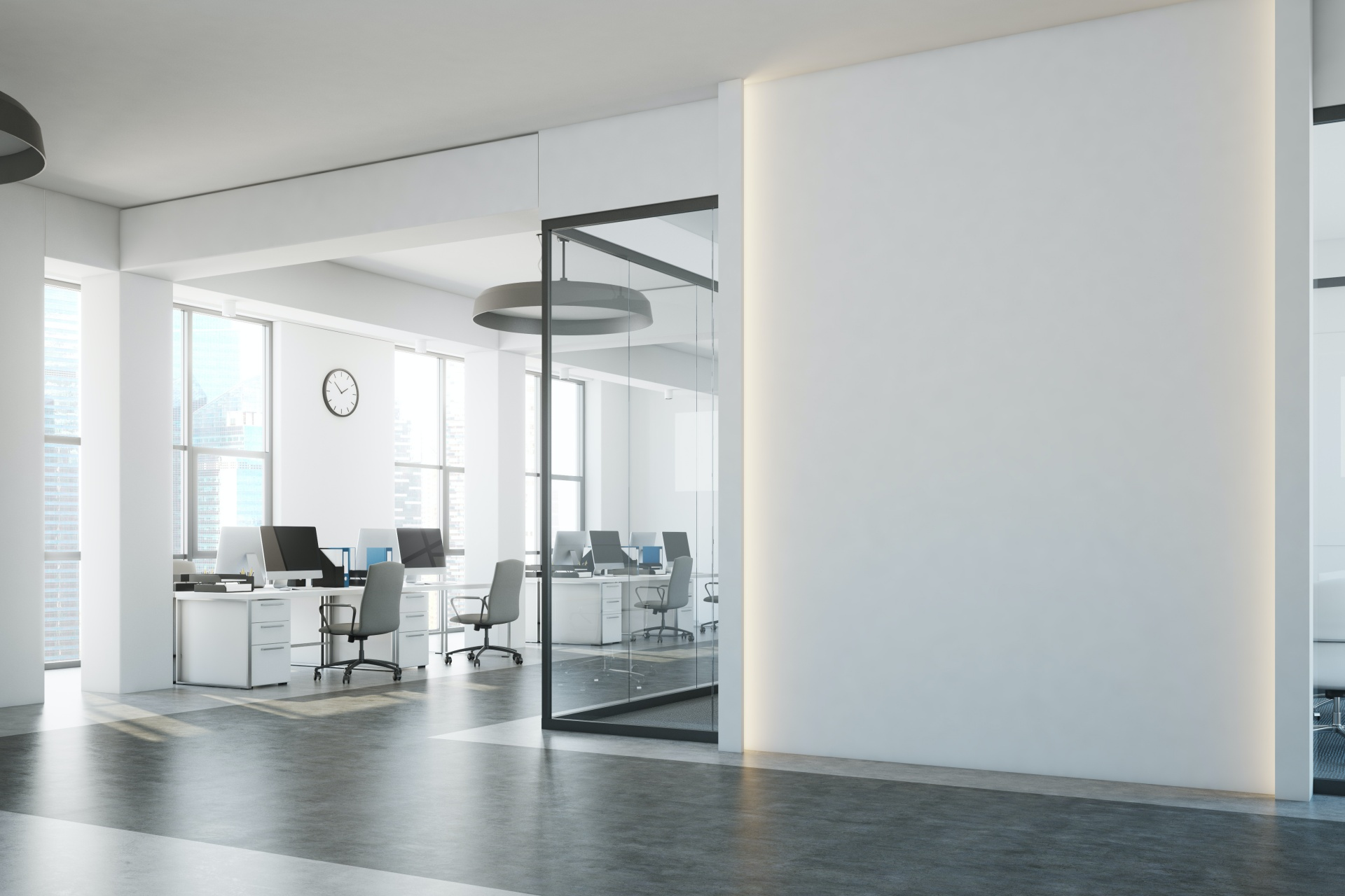 white office wall and desks