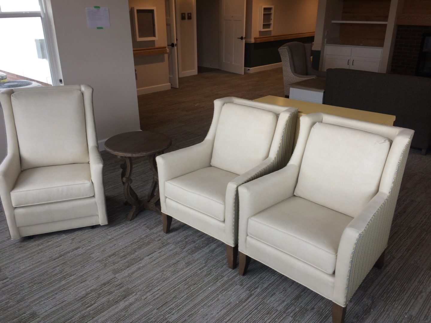 white chairs in assisted living facility